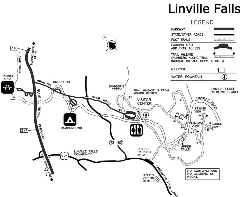 National Park Service map of the Linville Falls area.
