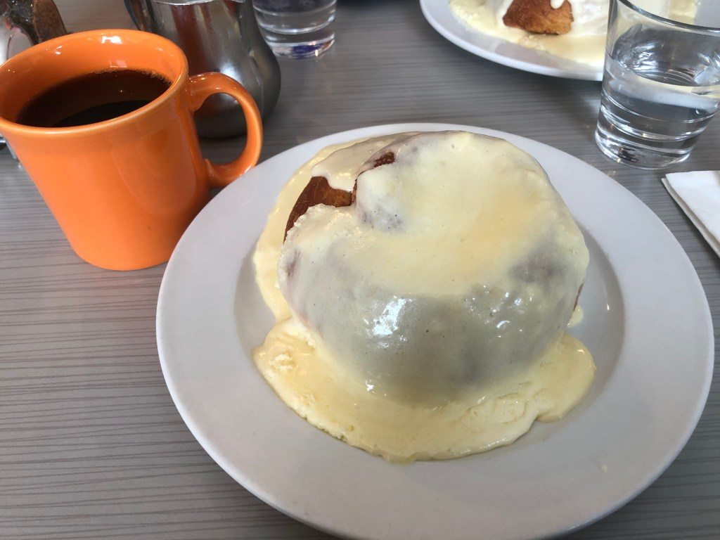 Winona's gives you huge cinnamon rolls smothered in icing with a steaming mug of coffee in adorable multi-colored cups. This is a must on the guide to Steamboat Springs.