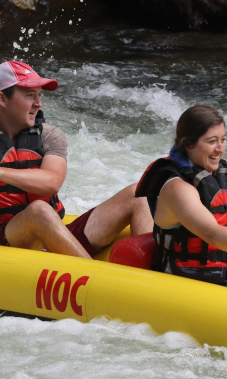 Man and woman rafting the Nantahala River.