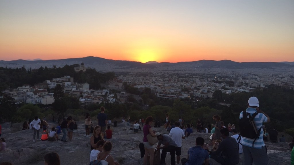 Sunset over the beautiful city of Athens.
