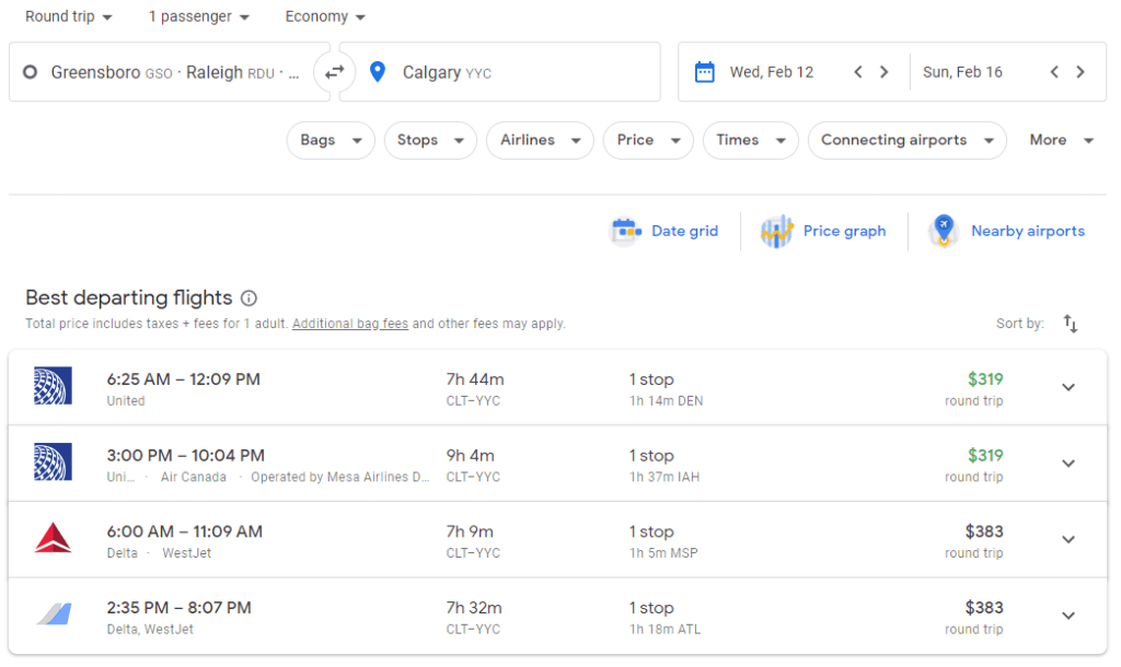 Once you enter your search criteria, Google Flights shows you the best flight deals available.