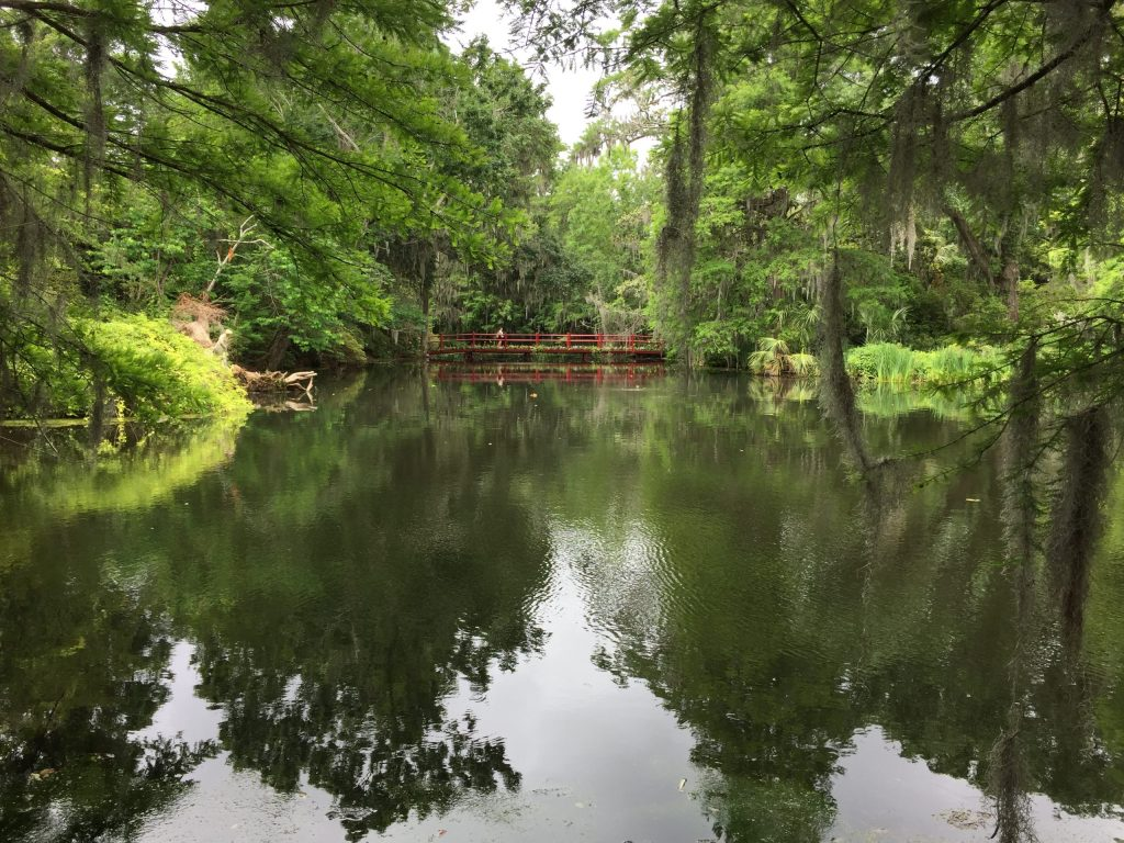 A red bridge over a lake in the gardens of Magnolia Plantation. Moss hangs from the trees as is usual in Charleston, SC.