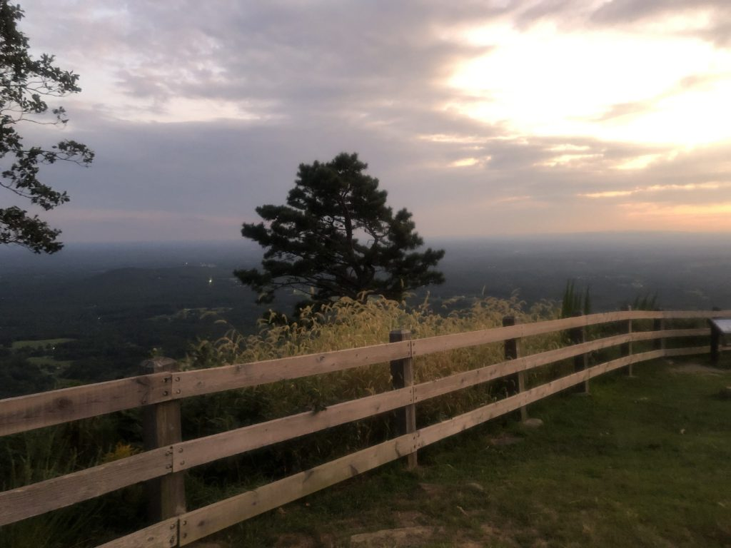 A sunset view from behind a wooden fence with a lone tree in the foreground. Pilot Mountain State Park is one of the best places to visit in North Carolina.