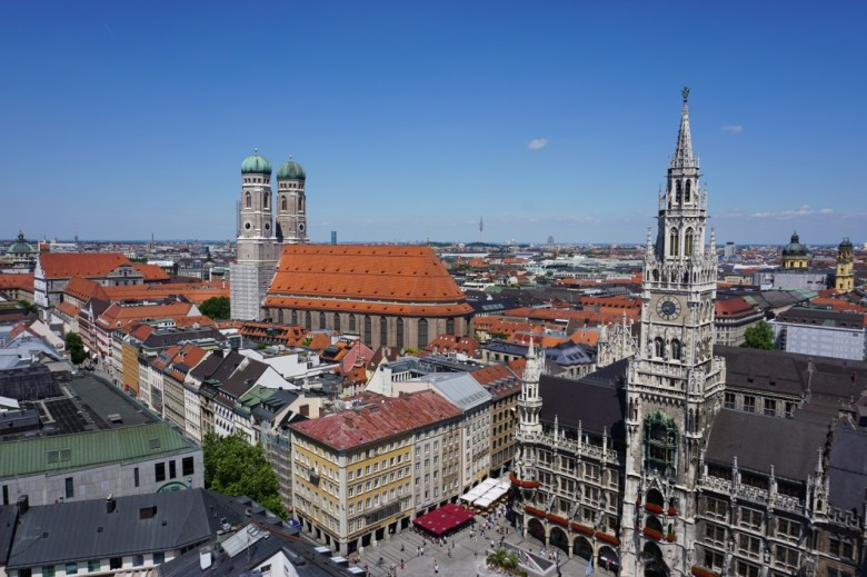 A bird's eye view of Munich from St. Peter's Church. You can see the buildings surrounding Marienplatz and the church in Munich with Muslim design influence. Munich is the capital of Bavaria, Germany.