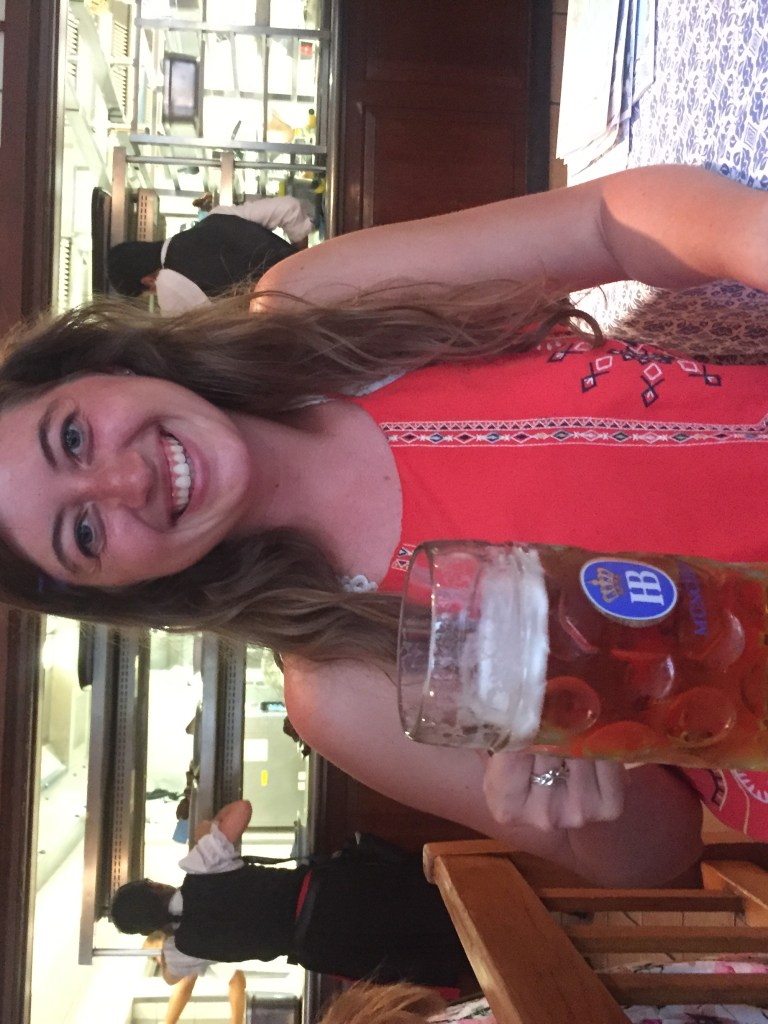 Me holding a liter beer from Hofbrauhaus in front of their kitchen.  Don't miss the incredible beer when you visit Bavaria, Germany.