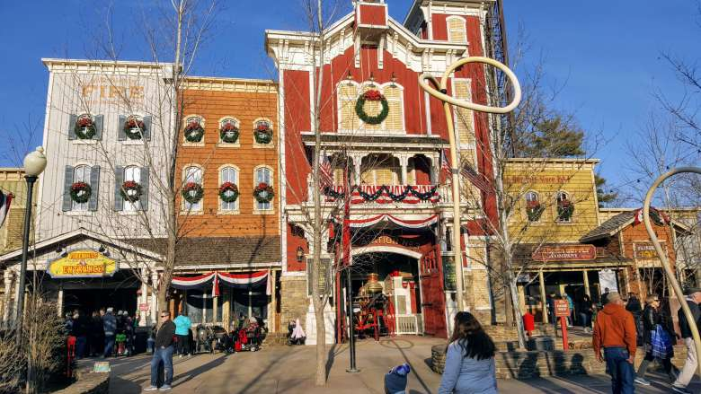 Buildings that look like an old western town in one of the best theme parks in the US