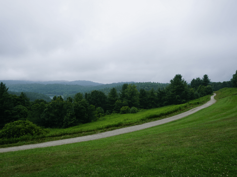 mountain view with carriage path in view