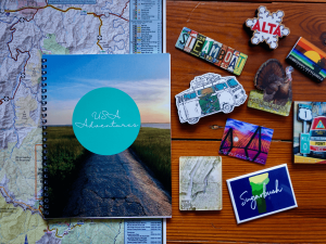 travel journal and maps and magnets