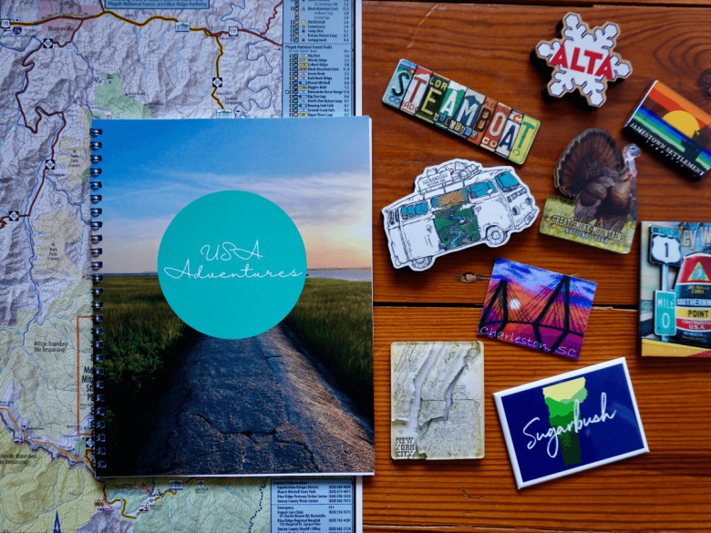 travel journal with map and magnets