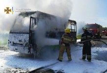 У Харкові згорів автобус