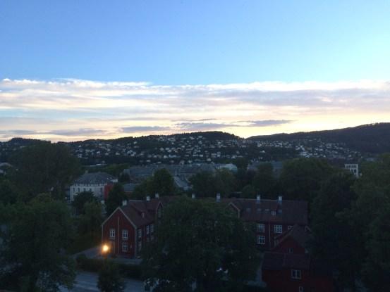 Utsikt fra Nidarosdomen en kveld i August