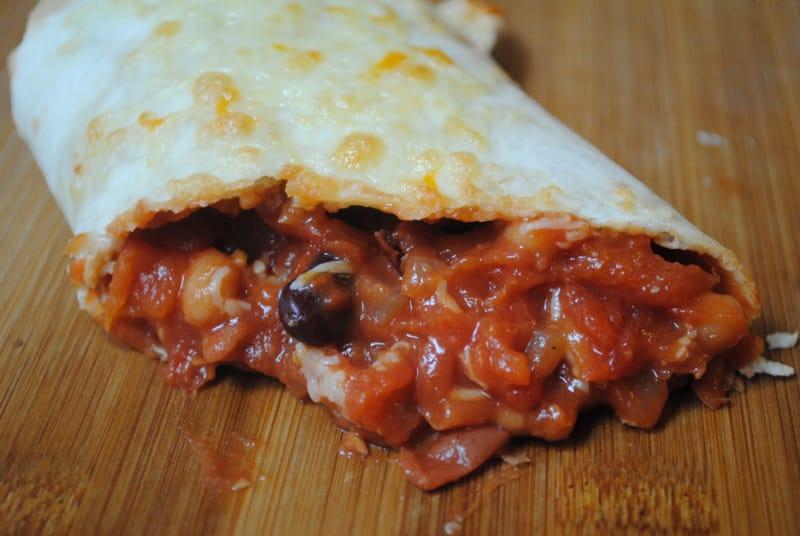 Cheese and mixed bean veggie wraps