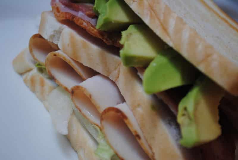 Turkey, bacon and avocado club sandwich