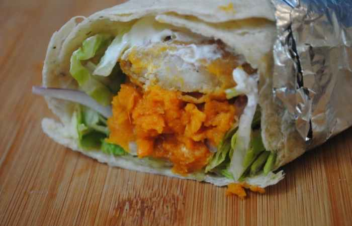 Crispy chicken + sweet potato burrito wrap