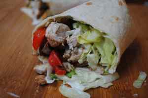 Spicy stir fry chicken wraps