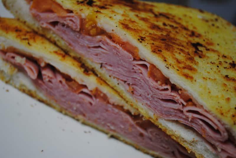 Super simple ham and tomato toastie