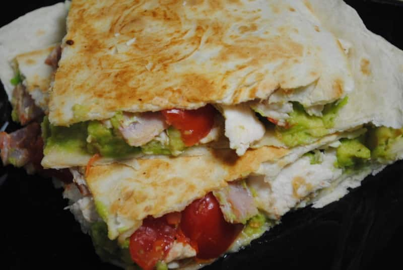 Chicken, Bacon and Avocado Tortilla Toasties