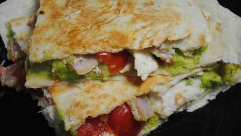chicken bacon avocado tortilla toasties recipe - 1