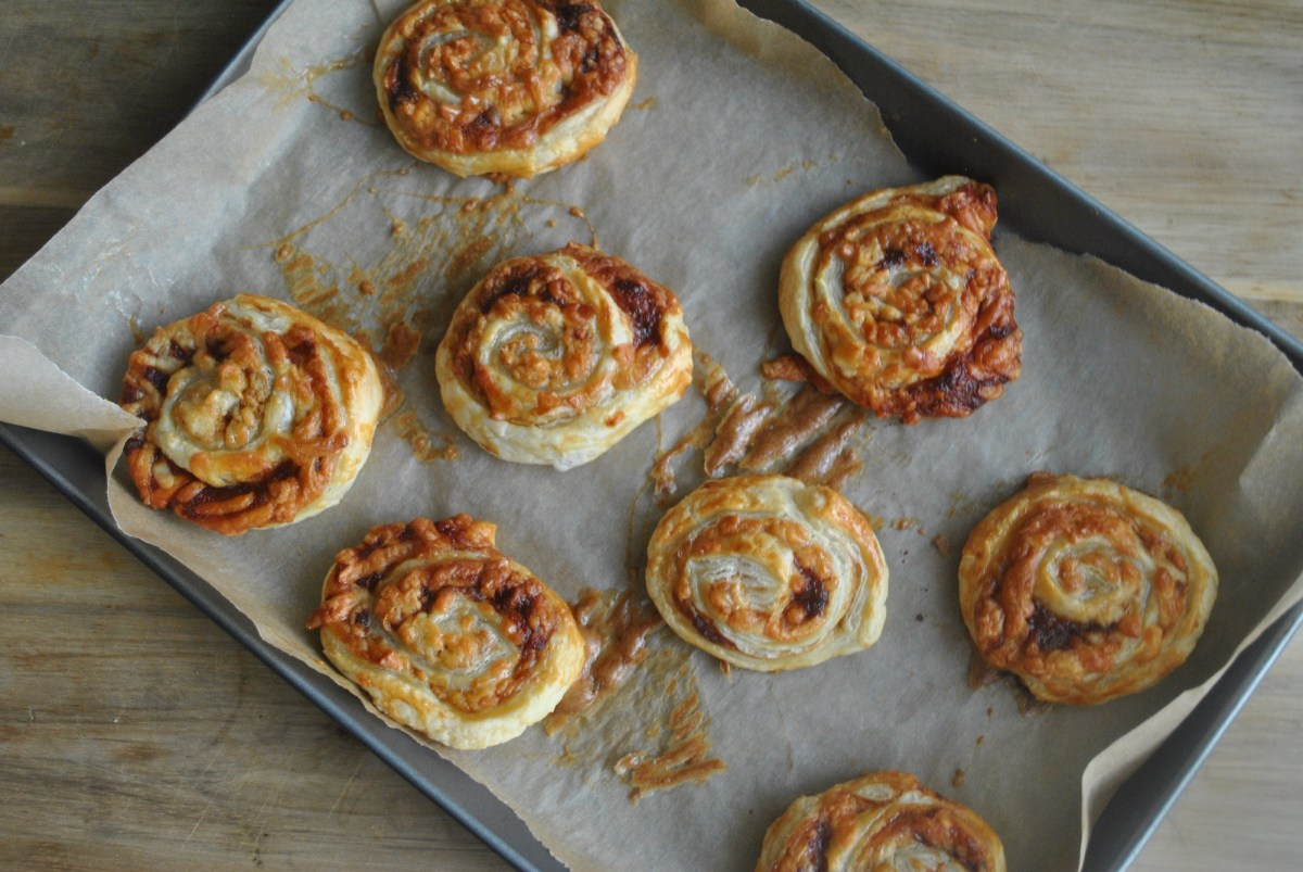 marmite cheese puff pastry wheels recipe - 1