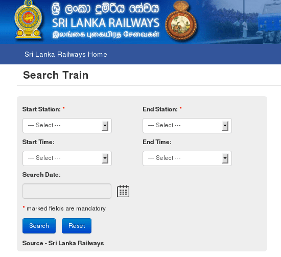 Sri Lanka Railway Time table