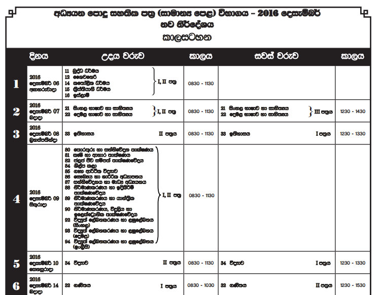 Download GCE O L 2016 Examination Time Table Student Sri
