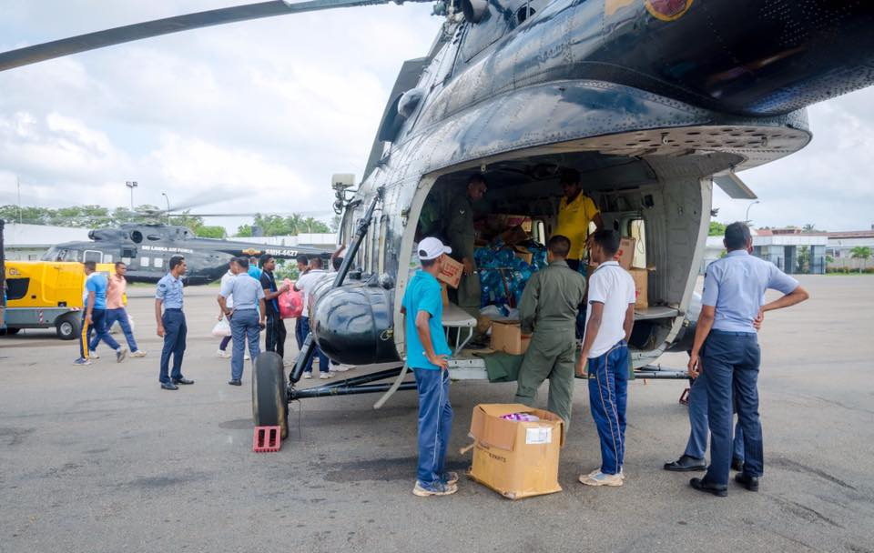 Ratmalana Air Force Base collection point for relief items