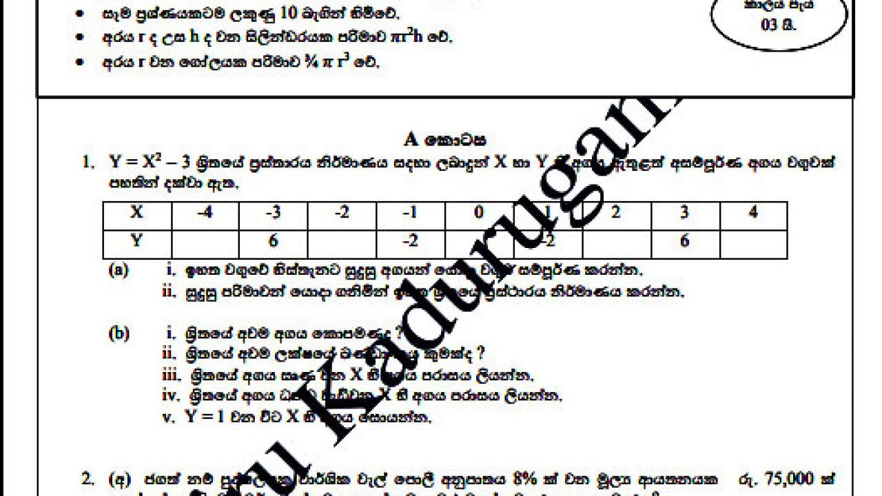 Download O/L Model Papers 2017