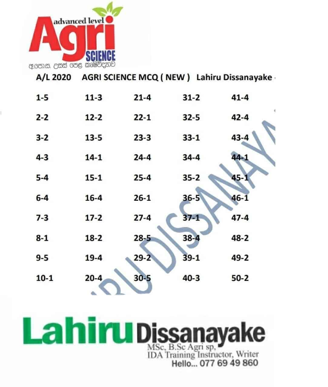 2020 Agriculture MCQ Answers