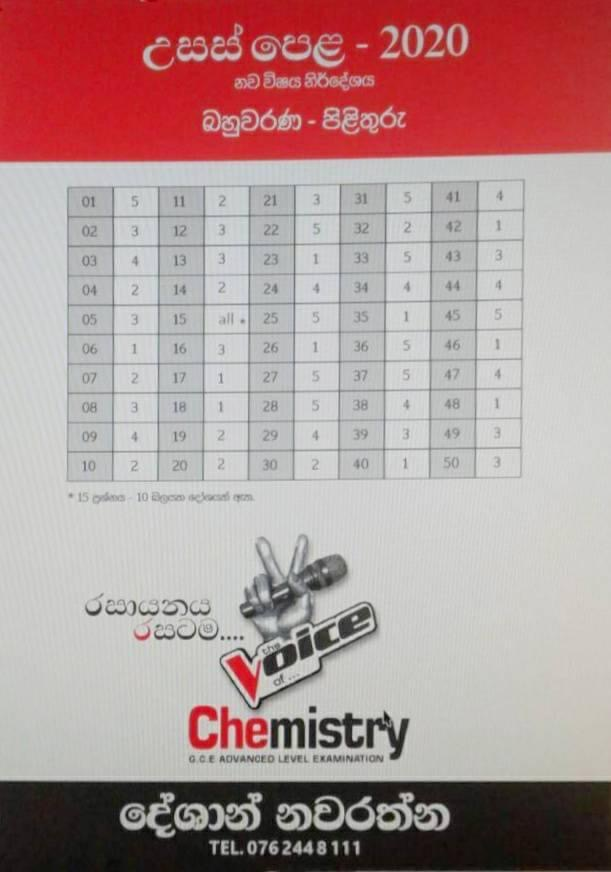 Chemistry 2020 MCQ answers