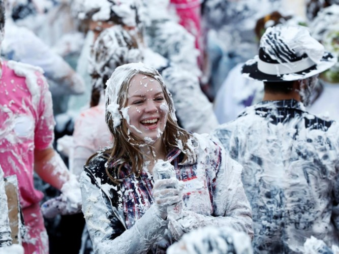 Student 'Foam Fight' at St Andrew's