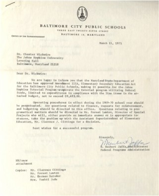 Letter of Support from Baltimore City Public Schools