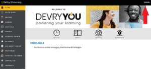 Devry University official portal page