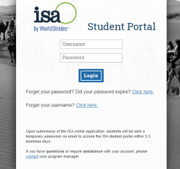 ISA Study abroad Student Portal Login Page