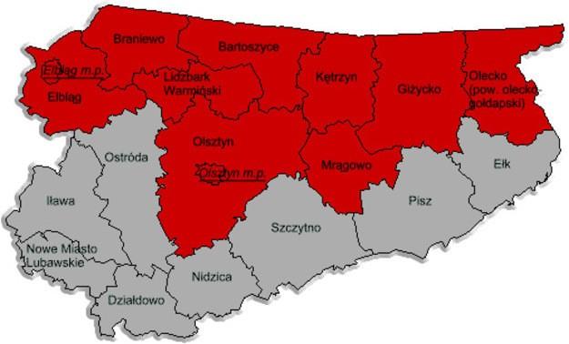 Карта Варминьско-Мазурского воеводства