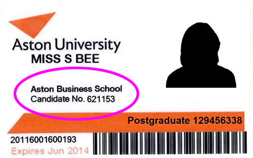 Sample ID card with candidate number circled