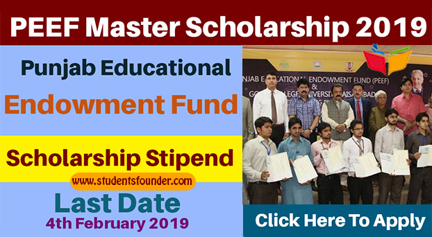 PEEF Master Scholarship 2019 – Punjab Educational Endowment Fund