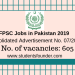 FPSC Jobs in Pakistan 2019 – Consolidated Advertisement No. 07/2019