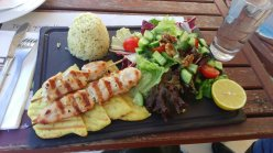 Traditional Cypriot food called souvlaki :)
