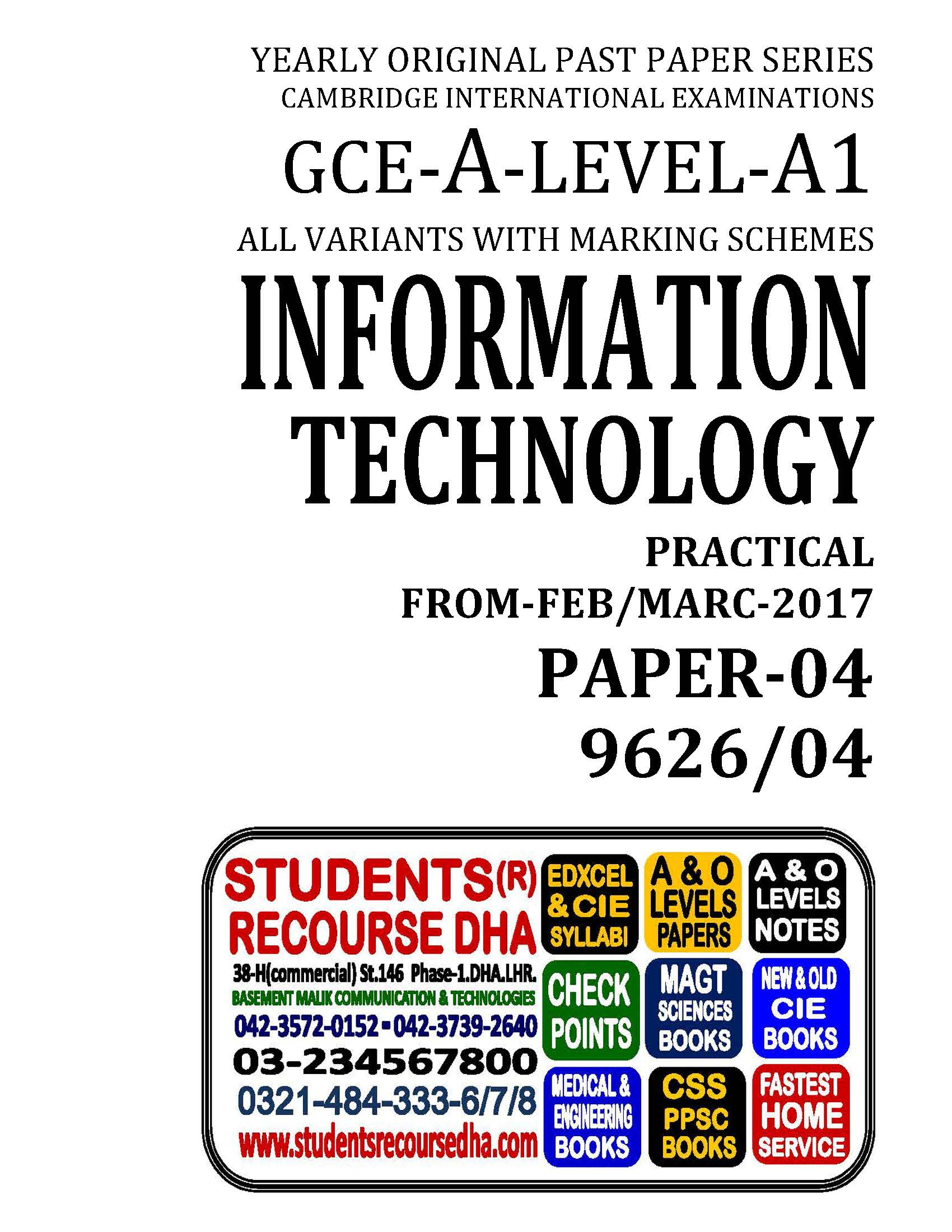 UNSOLVED YEARLY WITH MARKING SCHEME A LEVEL INFORMATION  TECHNOLOGY-P4-9626-04