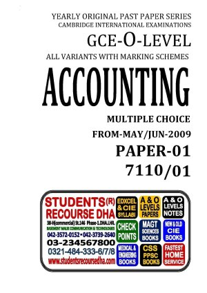 UNSOLVED YEARLY WITH MARKING SCHEME O LEVEL ACCOUNTING-P1-7110-01