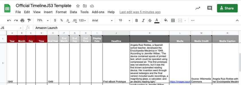 Screengrab of Timeline JS Google Sheet template