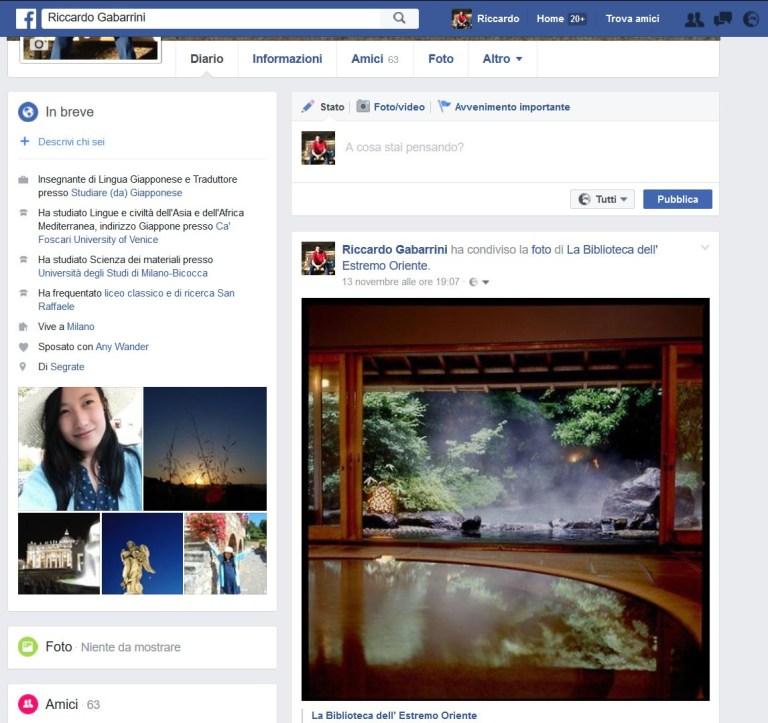 Facebook profilo italiano