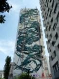 Pantónio, Tourbillon de sardines Fresque murale, Street art, 2014 Photo de Alain Delavie Tour Sienne, Place Vénétie, Paris 13e (75)