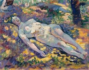 Dormeuse nue dans la clairière Henri-Edmond Cross (1856-1910) 1907 Huile sur papier marouflé sur toile Musée de Grenoble