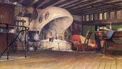 Aperçu de la cuisine et de la cheminée du Château Ambulant.