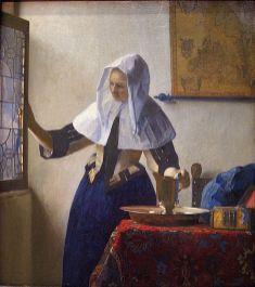 Johannes Vermeer, La jeune femme à l'aiguière, Huile sur toile, 45,7 × 40,6 cm, 1662-65, Metropolitan Museum of Art, New York.