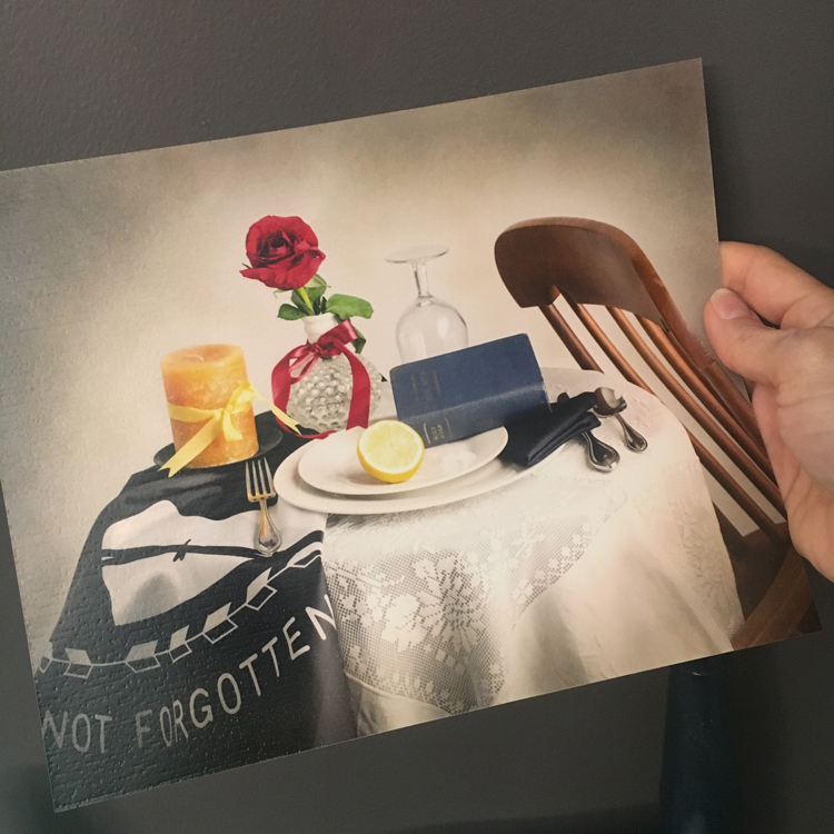 """Missing Man"" White Table photograph"