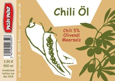 Flaschenetikett-Chiliöl
