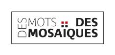 des mots des mosaïques_ nom de la marque_atelier artiste_encadré-filet noir_noir_rouge