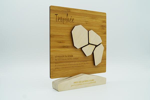 trophee décoratif creation originale maxence fortier format carre sur socle graphique et gravé, couleur clair, contreplaque de bois vernis
